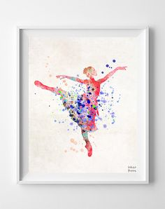 Ballerina Print Watercolor Art Nursery Poster Type by InkistPrints