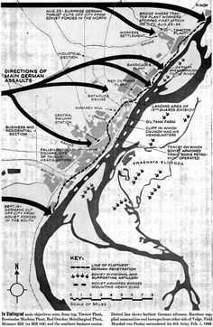 A detailed map of the Nazi attack on Stalingrad in late Source: LIFE Apr. Ww2 Facts, Bataille De Stalingrad, Battle Of Stalingrad, Military Tactics, Operation Barbarossa, Historical Maps, Cartography, War Machine, Life Magazine