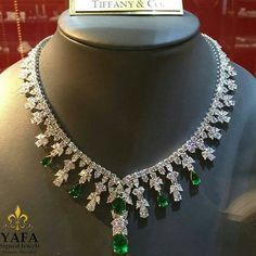 Palm Beach Jewelry show, stop by our booth today to see our incredible range of signed authentic vintage and estate jewelry. Shown here: emerald and diamond necklace,