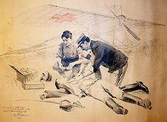 Un dessin coloré réalisé par le peintre Emile Friant en 1914 et représentant Marie Marvingt et un médecin portant secours à un blessé de guerre avec le fameux monoplan en arrière-plan.