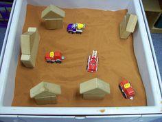 Community Helpers or Transportaion sensory table idea