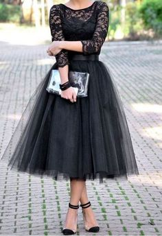 Fashion Lace Patchwork Ball Gown Dress Women Tulle Tutu Mid-Calf Dresses Elegant Party O-neck High Waist Vestidos summer dress Prom Dresses Long With Sleeves, Dresses Short, Lace Evening Dresses, Evening Gowns, Dresses 2016, Fitted Dresses, Tea Length Bridesmaid Dresses, Wedding Dresses, Wedding Skirt