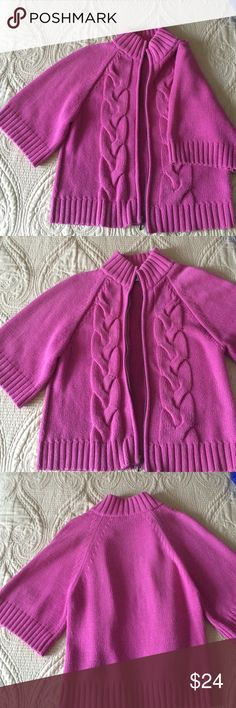 🔥 Jones Sport sweater in gorgeous berry color 🔥 Jones Sport sweater in beautiful berry color, zipper closure, wide 3/4 sleeve. Very gently loved. Ready for your offer Jones New York Sweaters