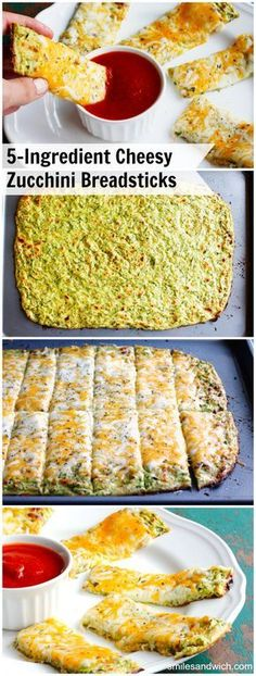 Cheesy Zucchini Breadsticks - a low-carb recipe with only 5 ingredients. Great fresh zucchini recipe to use up your garden bounty!