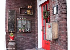 Love this outdoor space by @Michael Wurm {inspiredbycharm.com} I need a red door! #diy #home