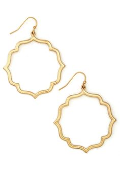 Committed Curator Earrings. Every piece for your gallery is carefully selected - much like these golden earrings that you sport nearly every day!  #modcloth