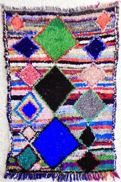 TC09476 vintage boucherouite rug, moroccan rugs , rag rug, berber tribal art, morocco carpets, wall art