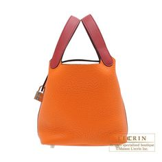 Hermes Picotin Lock Touch bag PM Orange/Rouge grenade Clemence leather/ Swift leather Silver hardware