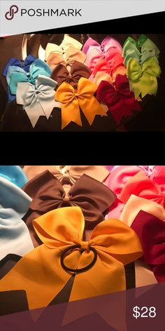 """Brand new 8"""" cheer bows! 8"""" cheer bows with hairband! 18 different colors!!! Accessories Hair Accessories"""