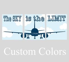 Aviation nursery decor set of 3 prints or CANVAS, Personalized Plane Nursery Wall Art,The sky is the limit,Airplane room decor,Pilot nursery