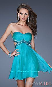 Buy Short Strapless Dress with Side Cut Outs
