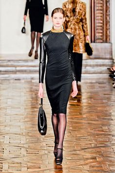 Ralph Lauren Fall 2012- this is a darn sweet dress. Very crisp and edgy yet soft with the leather sleeves.
