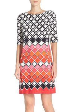 Eliza J Geometric Print Jersey Shift Dress (Regular & Petite) available at #Nordstrom