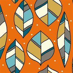 Picnic Whimsy Organic RG-32 Orange Leaves by Birch Fabrics