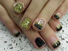 Black and gold new year nails