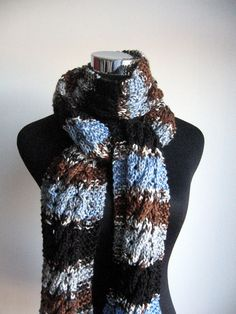 Multicolor Blue Brown Grey and Black Cable and Lace Scarf by KnitsByNat