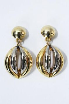 Large Drop Goldtone Silvertone Clip On Earrings, Vintage