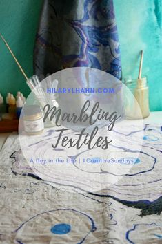 Marbling cloth napkins using textile paints with lots of pics on how to create beautiful designs!