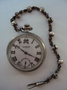 "Very RARE Antique ""Movado"" Pocket Watch Masonic Silver Plated Chain Swiss 15J 