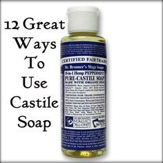 12 Great Ways to use Castile Soap -  (I love this stuff!) It gets my hair the cleanest I think it's ever been and is perfect to use about once a week to remove residue.  Makes a FANTASTIC (and HEALTHY!) DOG BATH, too!! And pests HATE the smell of peppermint!