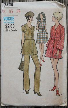 Vogue 7849 1970s 70s Bohemian Disco Biba Style Dress Tunic Pants Vintage Sewing Pattern Size 12 Bust 34