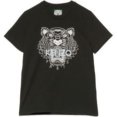 Kenzo Short Sleeve Tiger Head Tee (180 CAD) ❤ liked on Polyvore featuring tops, t-shirts, kenzo tee, crew-neck tee, short sleeve tops, short sleeve crew neck tee and logo tees