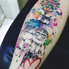Check it out: https://flic.kr/p/RN8Ti5  Sketch Style Watercolor Tattoo Art (from the movie 'Up') by @JessicadamascenoArt posted by the World Tattoo Gallery