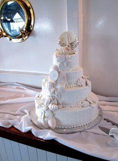 Ocean-themed wedding cake#boat #wedding #narrowboat