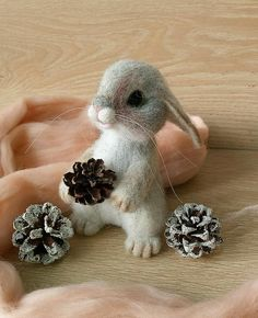 Your place to buy and sell all things handmade Felted animals Needle felted bunny Felt rabbit Hare felted Needle Felted Cat, Needle Felted Animals, Felt Animals, Felt Bunny, Felt Cat, Bordado Popular, Wool Felt, Felted Wool, Felt Animal Patterns