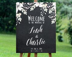 The ALYSSA . Welcome Welcome Sign Gold & Navy by BuffyWeddings