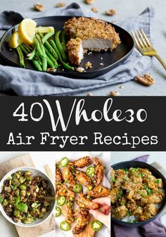 40 Air Fryer Recipes You'll love this roundup of 30 Air Fryer Recipes that are also Paleo and Keto. From breakfast to dinner and even some appetizers, so many great options! Air Fryer Recipes Wings, Air Fryer Recipes Vegetarian, Air Fryer Recipes Snacks, Air Fryer Recipes Low Carb, Paleo Crockpot Recipes, Air Fryer Recipes Breakfast, Air Fryer Dinner Recipes, Vegetable Recipes, Healthy Recipes