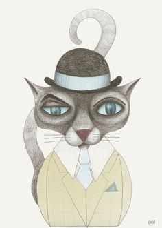 Katt i hatt I/Cat with hat I - Pnil