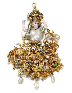 Gold, baroque pearl, enamel and diamond pendant, Southern Italian, 17th Century