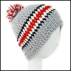 Light Gray, Black, White & Red Hat with Pom
