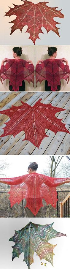 Knit and Crochet Meaple Leaf Shawl