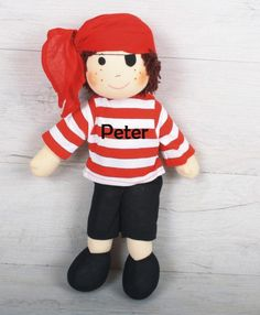 Pirate Pete Personalised Rag Doll