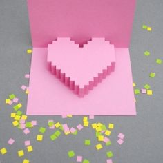 Popup pixel valentines card with downloadable templates