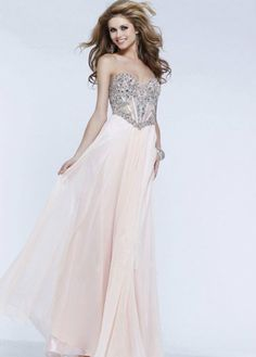 Champagne Beaded Mesh Corset Long Prom Dresses 2014