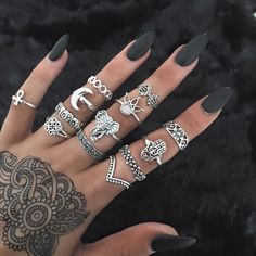 0.99 GBP - 13Pc Bohe Crystal Palm Elephant Hollow Stacking Midi Ring Gem Crown Finger Rings #ebay #Fashion