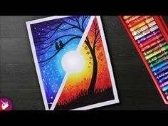 Day And Night Scenery Drawing For Beginners With Oil Pastels Step