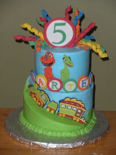 "Dinosaur Train Birthday - The top was a 6"" and the bottom was carved from an 8"". Thanks to the great tutorial on CC. The dinosaurs and train were fondant, and the cake was done in BC."