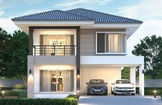 House design plan with 4 bedrooms - Home Design with Plan Two Story House Design, 2 Storey House Design, Simple House Design, House Front Design, House Plans 2 Storey, Duplex House Plans, Bedroom House Plans, Bungalow Floor Plans, Modern Bungalow House