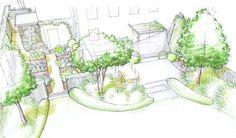 Jardin de lotissement croquis terrasse arrière