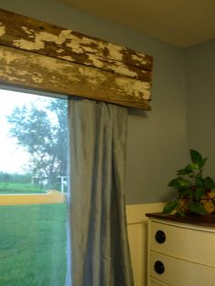 Barnwood used as a window valance