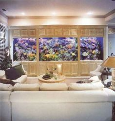 Built in aquarium for the walk out basement. Looks like you could break each panel up into a separate aquarium to house different species. The tv screen for the theater can be lowered down in front of the fish tank Aquarium Design, Home Aquarium, Reef Aquarium, Aquarium Fish Tank, Aquarium Ideas, Fish Aquariums, Big Aquarium, Cool Fish Tanks, Saltwater Fish Tanks