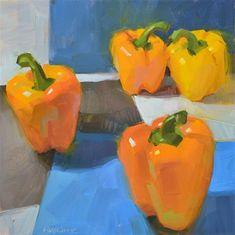 "Daily Paintworks - ""Golden Bells"" - Original Fine Art for Sale - © Carol Marine"