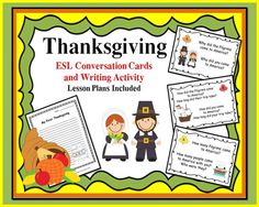 Thanksgiving ESL Conversation Cards with Writing Activity