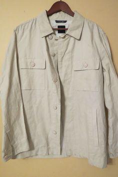 HUGO BOSS Black Label Lightweight Cotton Linen Jacket Size 40R Khaki Tan  #HUGOBOSS #BasicJacket