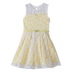 Girls 7-16 Knitworks Sleeveless Lace Skater Dress