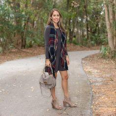 Plaid scarf and long sleeve dress